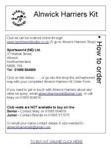 Alnwick Harriers Kit How to order Club kit