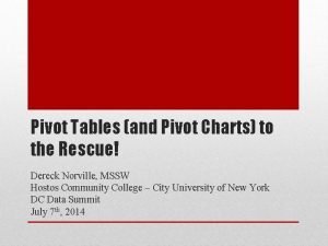 Pivot Tables and Pivot Charts to the Rescue