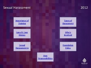 Sexual Harassment Importance of Training Types of Harassment