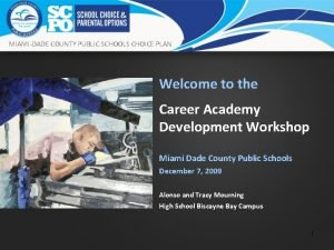MIAMIDADE COUNTY PUBLIC SCHOOLS CHOICE PLAN Welcome to