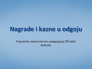 Nagrade i kazne u odgoju Pripremila Jelena Horvat