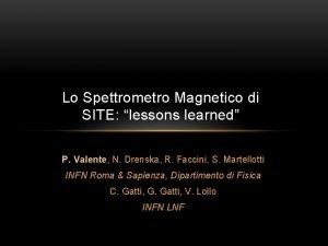 Lo Spettrometro Magnetico di SITE lessons learned P
