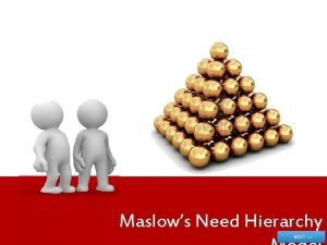 Maslows Need Hierarchy Objectives Describe the History of