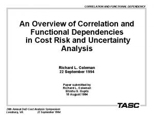 CORRELATION AND FUNCTIONAL DEPENDENCY An Overview of Correlation