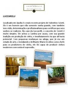 LUCCARELLI Localizada em Apulia o mais recente projeto