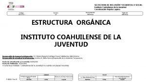 SECRETARIA DE INCLUSIN Y DESARROLLO SOCIAL Instituto Coahuilense