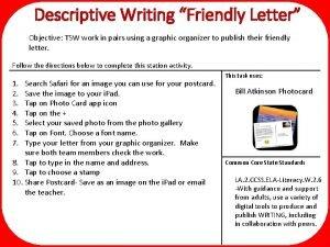 Descriptive Writing Friendly Letter Objective TSW work in