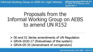 Informal Working Group on AEBS for Light Vehicles