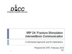 IRP 24 Fracture Stimulation Interwellbore Communication A riskbased