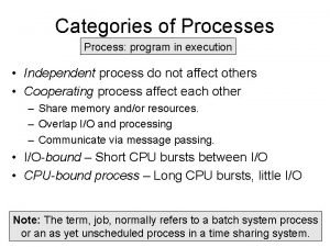 Categories of Processes Process program in execution Independent