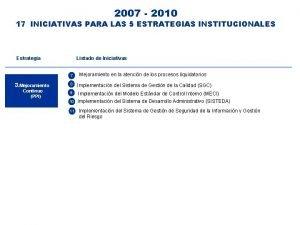 2007 2010 17 INICIATIVAS PARA LAS 5 ESTRATEGIAS