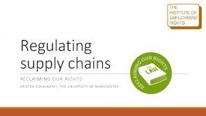 Regulating supply chains RECLAIMING OUR RIGHTS ARISTEA KOUKIADAKI
