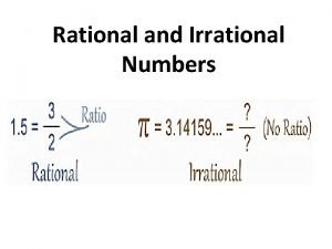 Rational and Irrational Numbers Rational Number Rational Number