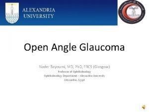Open Angle Glaucoma Nader Bayoumi MD Ph D