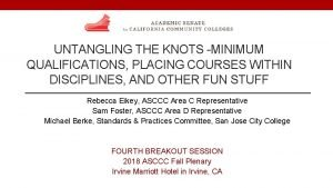 UNTANGLING THE KNOTS MINIMUM QUALIFICATIONS PLACING COURSES WITHIN