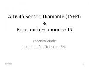 Attivit Sensori Diamante TSPI e Resoconto Economico TS