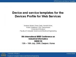 DPWS Device and Service Templates Device and service