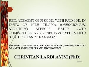 1 REPLACEMENT OF FISH OIL WITH PALM OIL