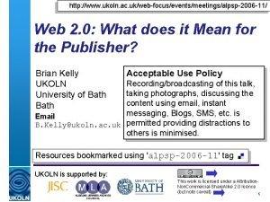 http www ukoln ac ukwebfocuseventsmeetingsalpsp2006 11 Web 2