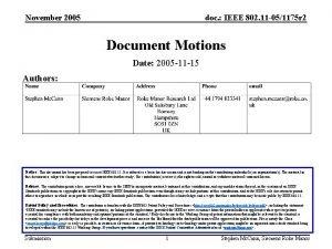 November 2005 doc IEEE 802 11 051175 r