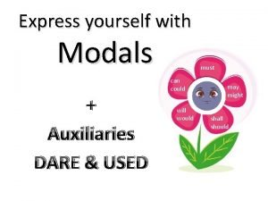 Express yourself with Modals Auxiliaries DARE USED must