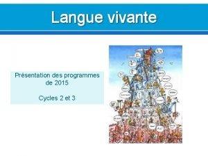 Langue vivante Prsentation des programmes de 2015 Cycles