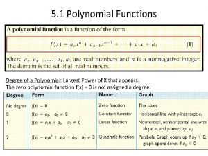5 1 Polynomial Functions Degree of a Polynomial