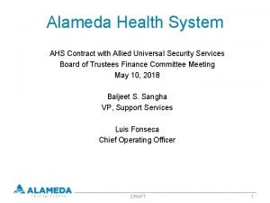 Alameda Health System AHS Contract with Allied Universal