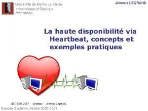 Universit de Marne La Valle Informatique et Rseaux