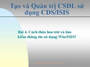 To v Qun tr CSDL s dng CDSISIS