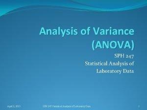 Analysis of Variance ANOVA SPH 247 Statistical Analysis