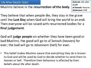 Life After Death Islam Muslims believe in the