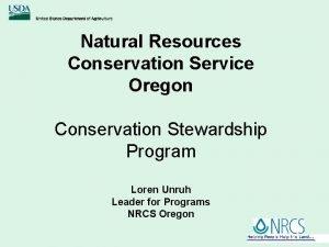 Natural Resources Conservation Service Oregon Conservation Stewardship Program