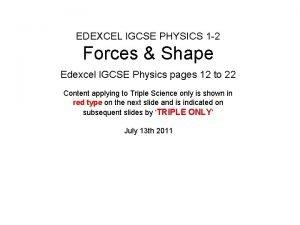 EDEXCEL IGCSE PHYSICS 1 2 Forces Shape Edexcel