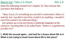 WarmUp Take a sheet Pds 1 4 Read
