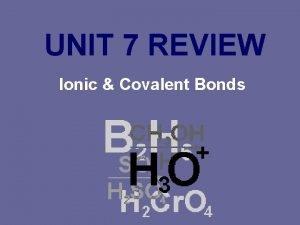 UNIT 7 REVIEW Ionic Covalent Bonds Ionic Bonding