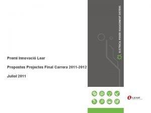 Premi Innovaci Lear Propostes Projectes Final Carrera 2011