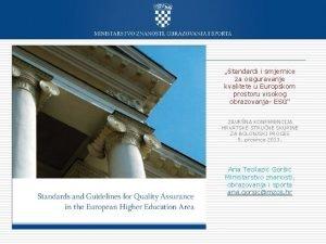 Standardi i smjernice za osiguravanje kvalitete u Europskom