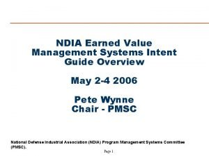 NDIA Earned Value Management Systems Intent Guide Overview