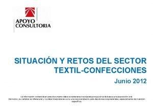 SAE SITUACIN Y RETOS DEL SECTOR TEXTILCONFECCIONES Junio