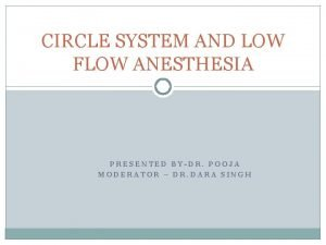 CIRCLE SYSTEM AND LOW FLOW ANESTHESIA PRESENTED BYDR