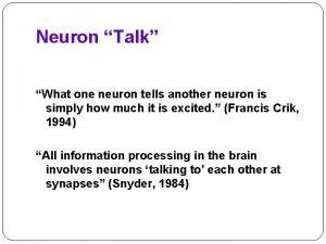 Neuron Talk What one neuron tells another neuron