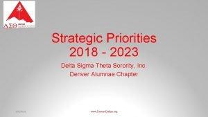 Strategic Priorities 2018 2023 Delta Sigma Theta Sorority