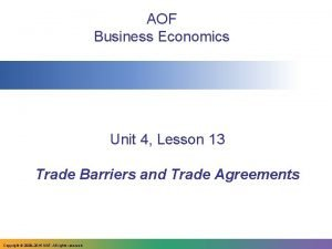 AOF Business Economics Unit 4 Lesson 13 Trade