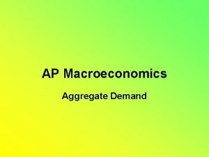 AP Macroeconomics Aggregate Demand Aggregate Demand AD Shows