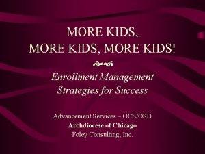 MORE KIDS MORE KIDS Enrollment Management Strategies for