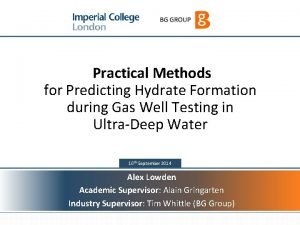 1 Practical Methods for Predicting Hydrate Formation during