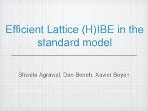 Efficient Lattice HIBE in the standard model Shweta