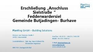 Erschlieung Anschluss Sielstrae Fedderwardersiel Gemeinde Butjadingen Burhave Plan