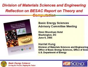 Division of Materials Sciences and Engineering Reflection on